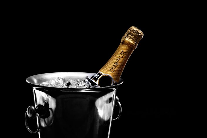 Champagne bottle in the ice bucket